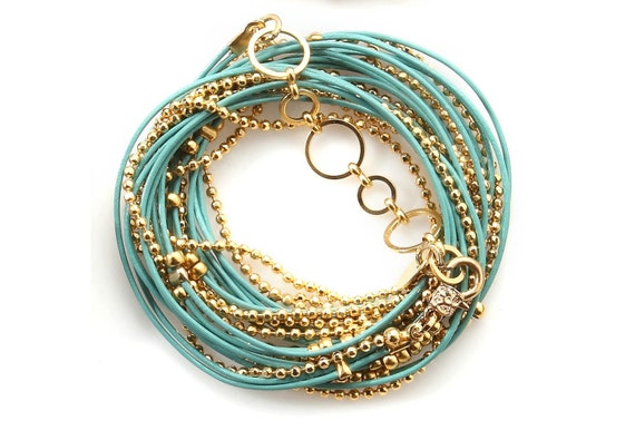 Turquoise and Gold Leather Wrap Bracelet