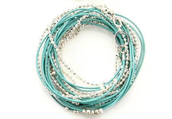 Turquoise and Silver Beads Leather Wrap Bracelet- Necklace