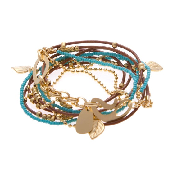 Turquoise and Golden Beads  Leather Bracelet/ Necklace
