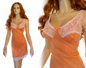 Apricot 1970s vintage full slip sheer see through carrot coral peach salmon tangerine 1198