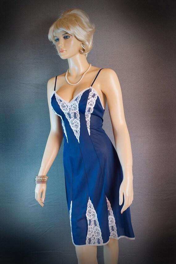 1960s vintage full slip nylon slips dark blue sixties 1154