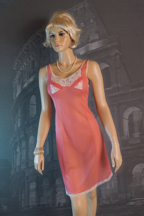 Italian 1960s vintage full slip see through mod coral pink - 1149
