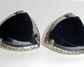 Antique Black Glass Clip On Earrings - Heavy - Shimmery - Elegant