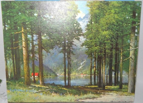 Robert Wood Litho Picture Pine Grove Lake By