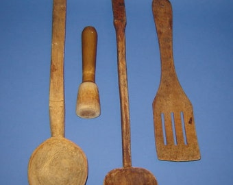 Early 19 c. Primitive Wood Wooden Hand Carved SPOONS  PESTLE  SPATULAS