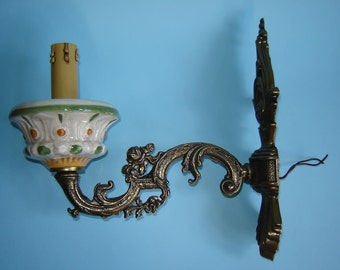 Old Vintage Wall Brass and Porcelain Electric Lamp in the shape of a CANDLE and a CANDLE HOLDER