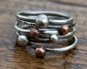 Stacking rings six sterling silver & copper - mix and match