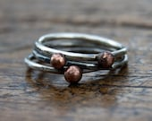 Stacking rings, copper silver ball pebble rings
