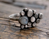 Moonstone & silver ring, pebble band, sterling silver, gemstone, rainbow