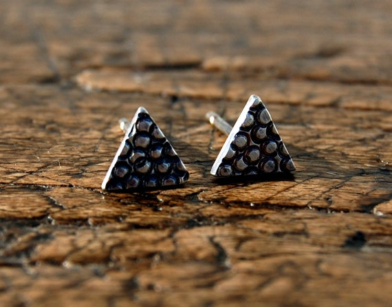 Small silver triangle textured studs, earrings, sterling silver, circle