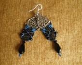 """Blue Striped Victorian Lace Earrings""""""""""""SALE"""""""""""""""