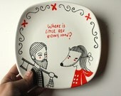 Hand painted plate  - Lumberjack and Little red riding hood