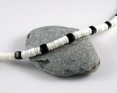 Unisex black and white bead necklace