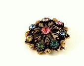 Vintage multi coloured diamante brooch