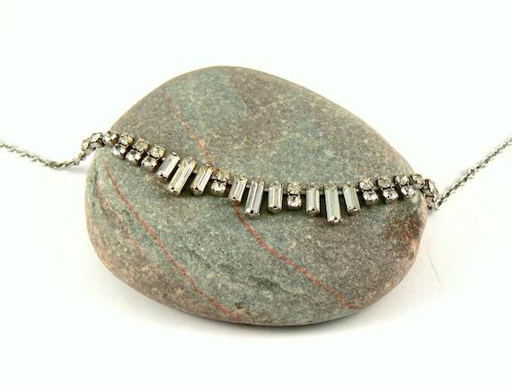 Vintage art deco style silver diamante necklace