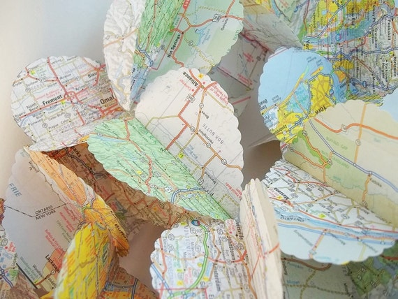 Heart Garland Upcycled from Road Maps