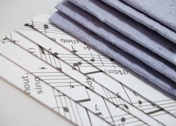 Recycled Handmade Paper Note Cards with Sheet Music Envelopes
