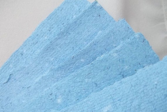 Handmade Recycled  Paper Papermaking Blue