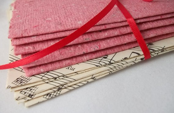 Sheet music envelopes with handmade paper note cards