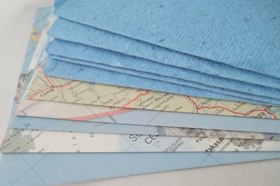 Upcycled Atlas Envelopes with Handmade Paper Note Cards