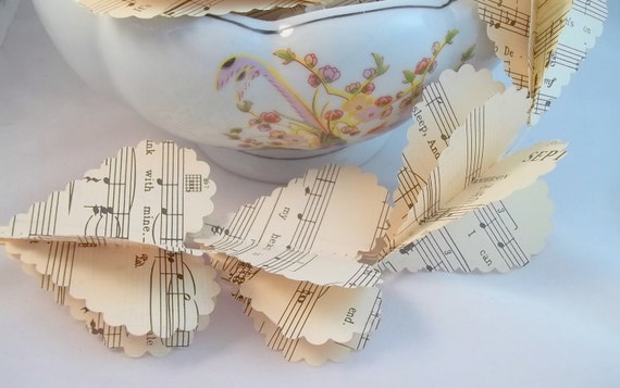 Reserved for Someone Special - 3 Heart Garlands Upcycled from Vintage Sheet Music