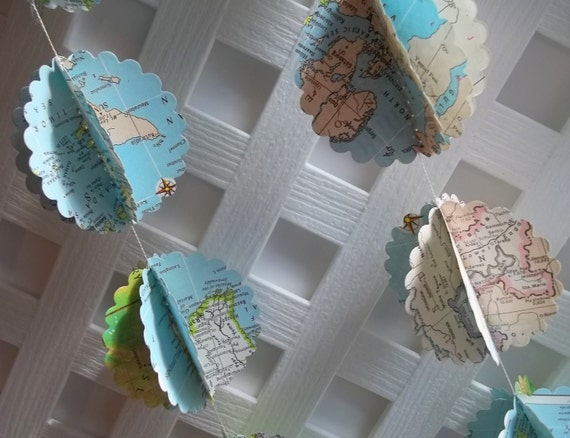 Scalloped Circle Map Garland Upcycled from Vintage World Atlas