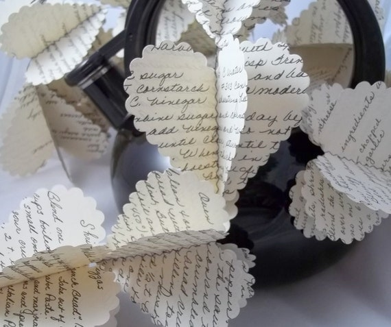 Heart Garland Upcycled from a Handwritten Cookbook