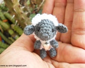 Tiny  Sheep - Gray Baby Sheep - Plush Sheep Toys - Sheep with Rattle - Made To Order