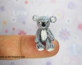Sweet Tiny Koala Bear, Light Grey 01 Micro Miniature Crochet Plush Toy, OOAK