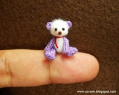 Baby Teddy Bear - Micro Dollhouse Miniature Bears - 0.8 Inch Scale - Crochet Mohair Bear - White Purple Red Scarf