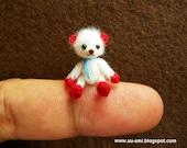 Baby Teddy Bear - Micro Dollhouse Miniature Bears - 0.8 Inch Scale - Crochet Mohair Bear - White Red Blue Scarf