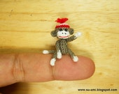 Special reserved for Karen - Miniature Sock Monkey With Hat - Micro Thread Crochet Animals - 1 Inch Scale Grey Sock Monkey - Made to Order
