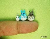 Micro Woodland Totoro and Friends - Mini Tiny Dollhouse Miniature Rabbits - Set of 3 Totoros - Made To Order