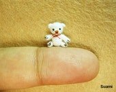 Extreme Micro Bear - Tiny Dollhouse Miniature Animals - 1/2 Inch Scale Crochet  Creme Bear Red Bow