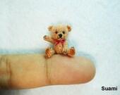 Miniature Brown Mohair Bear - Micro Thread Crocheted  Bears - 0.8 Inch Scale - Pink Scarf
