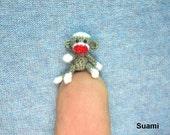 Micro Sock Monkey - Miniature Crochet Gray Sock Monkeys - Made To Order