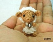 Mini Brown Sheep - Tiny Crocheted Sheep With Rattle - Made To Order