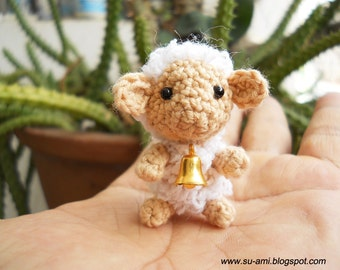 Tiny Creme Sheep - Mini Crocheted Cute Sheep with Bell - Made To Order