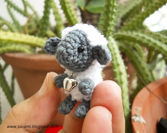 Mini Sheep With Rattle - Tiny Mini Amigurumi Crochet Miniature Sheep - Made To Order