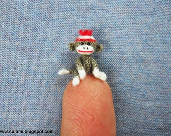 Tiniest Sock Monkey - Micro Amigurumi Crochet Miniature Sock Monkey Stuff Animal -  Made to Order