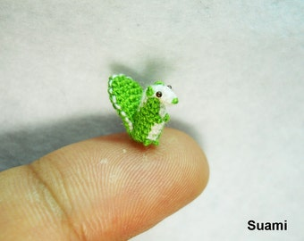 Micro Green Squirrel -  Teeny Tiny Amigurumi Miniature Animal - Made To Order