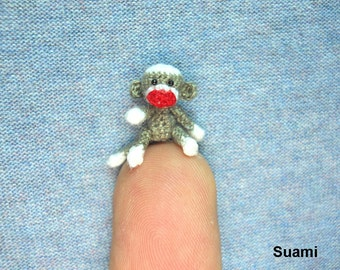 Micro Sock Monkey - Miniature Crochet Gray Sock Monkeys - Made To Order
