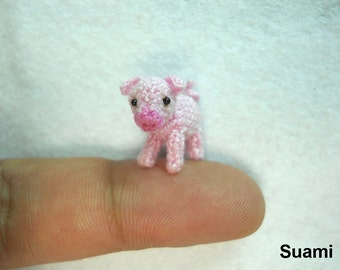 Miniature Crochet Pink Piglet - Mini Tiny Crochet Pig Amigurumi - Made To Order
