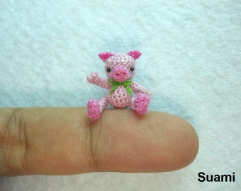 Tiny Cute Pink Pig Green Bow - Teeny Tiny Crocheted Pigs - Made To Order