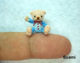 Cute Creme Bear Blue Dress Pink Bow - Micro Miniature Crocheted Teddy Bears - Made To Order
