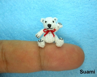 Micro Polar Bear Stuff Animal - Miniature Thread Crochet Bear Amigurumi - Made To Order