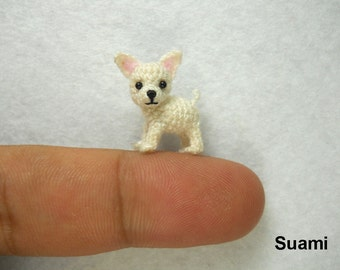 White Chihuahua Dog - Tiny Amigurumi Micro Crochet Miniature Pets - Made to Order