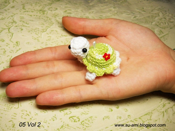 Cute Flowery Turtle Charm - Amigurumi Turtles - Made to order.