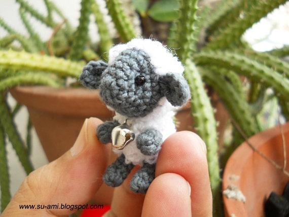 Mini Sheep With Rattle - Tiny Mini Amigurumi Crochet Miniature Sheep - Made To Order