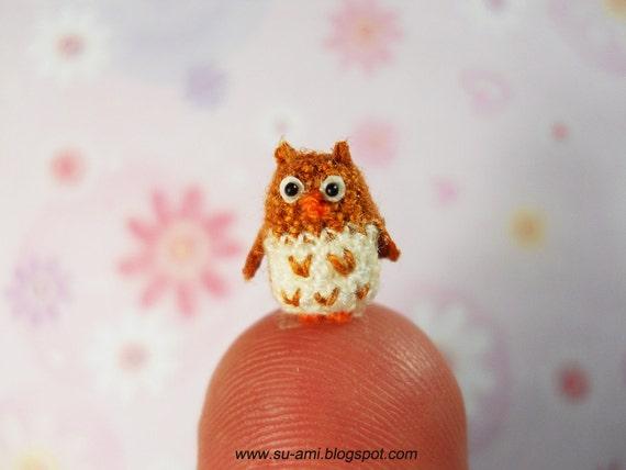 Super Tiny Owl - Micro Dollhouse Miniature Bird - Brown